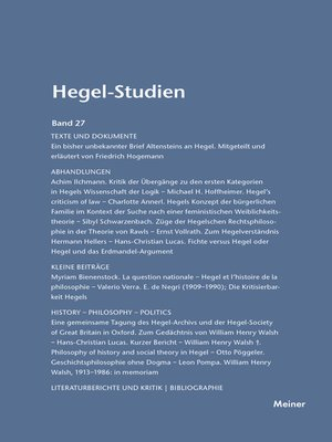 cover image of Hegel-Studien / Hegel-Studien Band 27