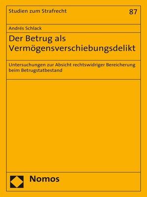 cover image of Der Betrug als Vermögensverschiebungsdelikt