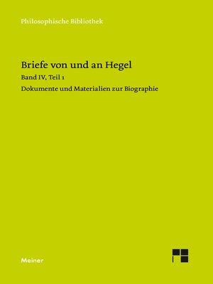 cover image of Briefe von und an Hegel. Band 4, Teil 1