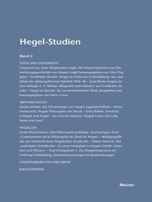 cover image of Hegel-Studien / Hegel-Studien Band 2