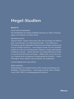 cover image of Hegel-Studien / Hegel-Studien Band 33