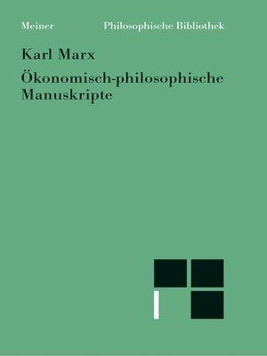 cover image of Ökonomisch-philosophische Manuskripte