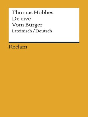 cover image of De cive / Vom Bürger