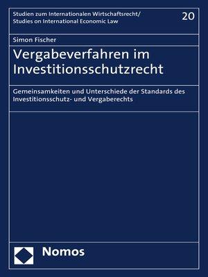cover image of Vergabeverfahren im Investitionsschutzrecht