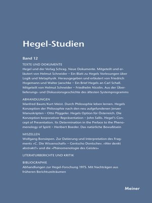 cover image of Hegel-Studien / Hegel-Studien Band 12