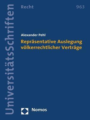 cover image of Repräsentative Auslegung völkerrechtlicher Verträge