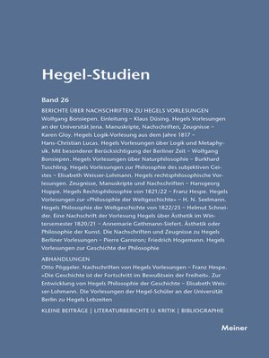 cover image of Hegel-Studien / Hegel-Studien Band 26