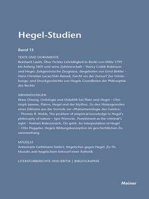 cover image of Hegel-Studien / Hegel-Studien Band 15