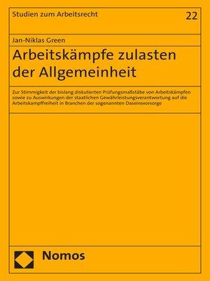 cover image of Arbeitskämpfe zulasten der Allgemeinheit