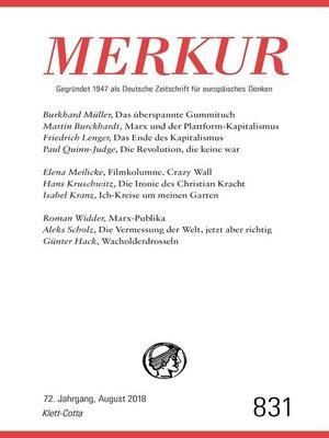 cover image of MERKUR Gegründet 1947 als Deutsche Zeitschrift für europäisches Denken--2018-08