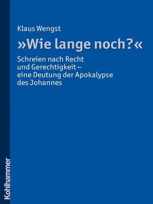 "cover image of ""Wie lange noch?"""