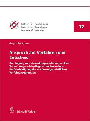 cover image of Anspruch auf Verfahren und Entscheid