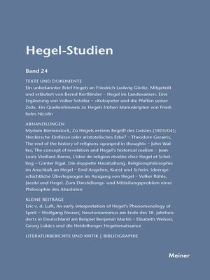 cover image of Hegel-Studien / Hegel-Studien Band 24