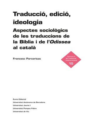 cover image of Traducció, edició, ideologia