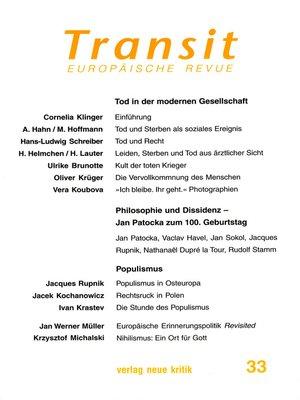 cover image of Transit 33. Europäische Revue