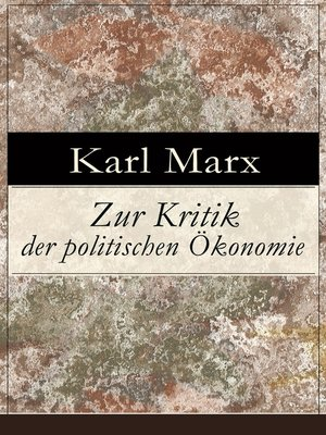 cover image of Zur Kritik der politischen Ökonomie