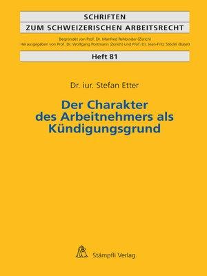 cover image of Der Charakter des Arbeitnehmers als Kündigungsgrund
