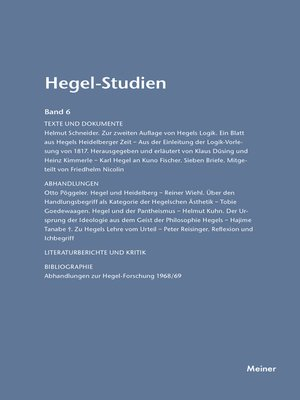 cover image of Hegel-Studien / Hegel-Studien Band 6