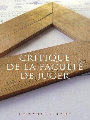 cover image of Critique de la faculté de juger