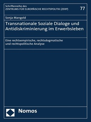 cover image of Transnationale Soziale Dialoge und Antidiskriminierung im Erwerbsleben