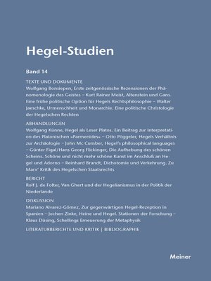 cover image of Hegel-Studien / Hegel-Studien Band 14