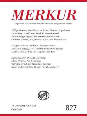 cover image of MERKUR Gegründet 1947 als Deutsche Zeitschrift für europäisches Denken--2018-04