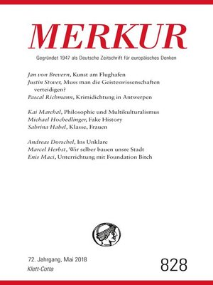 cover image of MERKUR Gegründet 1947 als Deutsche Zeitschrift für europäisches Denken--2018-05