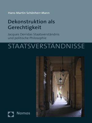 cover image of Dekonstruktion als Gerechtigkeit