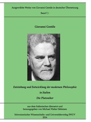 cover image of Entstehung und Entwicklung der modernen Philosophie in Italien