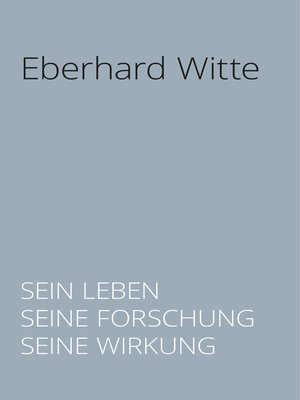 cover image of Eberhard Witte