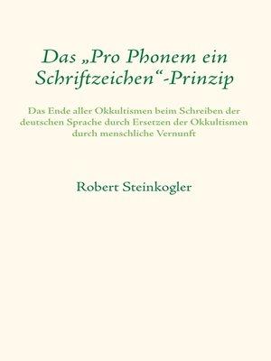 """cover image of Das """"Pro Phonem ein Schriftzeichen""""-Prinzip"""