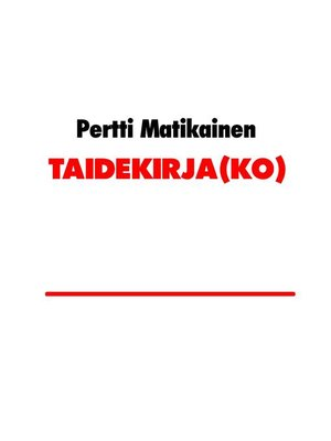 cover image of TAIDEKIRJA(KO)