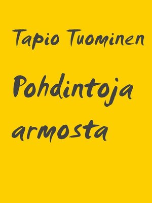 cover image of Pohdintoja armosta