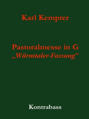 cover image of Kempter--Pastoralmesse in G. Kontrabass