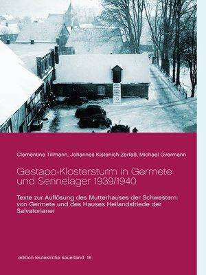 cover image of Gestapo-Klostersturm in Germete und Sennelager 1939/1940