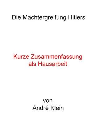 cover image of Die Machtergreifung Hitlers