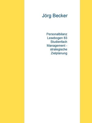 cover image of Personalbilanz Lesebogen 83 Studienfach Management--strategische Zielplanung