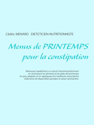cover image of Menus de printemps pour la constipation