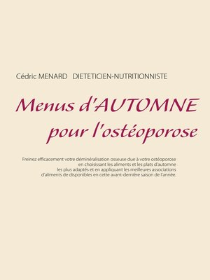 cover image of Menus d'automne pour l'ostéoporose