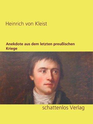 cover image of Anekdote aus dem letzten preußischen Kriege