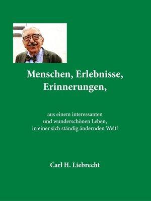 cover image of Menschen, Erlebnisse, Erinnerungen,
