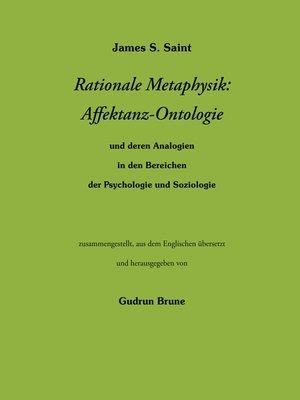 cover image of Rationale Metaphysik--Affektanz -Ontologie