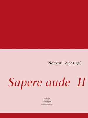 cover image of Sapere aude  II
