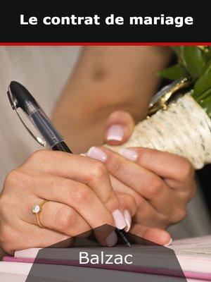cover image of Le contrat de mariage