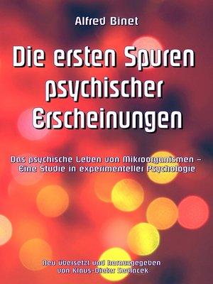 cover image of Die ersten Spuren psychischer Erscheinungen