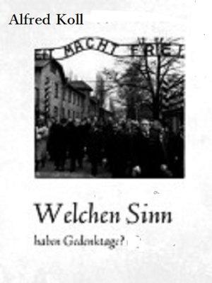 cover image of Welchen Sinn haben Gedenktage