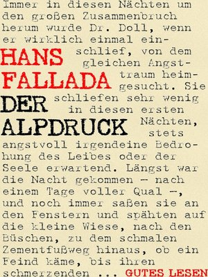 cover image of Der Alpdruck