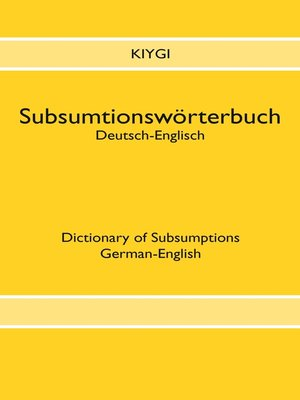 cover image of Subsumtionswörterbuch Deutsch-Englisch