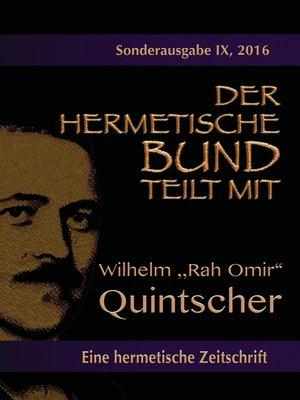 cover image of Der hermetische Bund teilt mit--Sonderausgabe Nr. IX