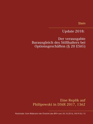 cover image of Update 2018--Der verausgabte Barausgleich des Stillhalters bei Optionsgeschäften (§ 20 EStG)